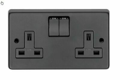 13 Amp Double Socket Outlet Black Stainless Steel • 11.50£