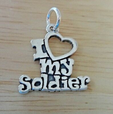 Sterling Silver 20x17mm Military Says I Love My Soldier Charm • 18.07£