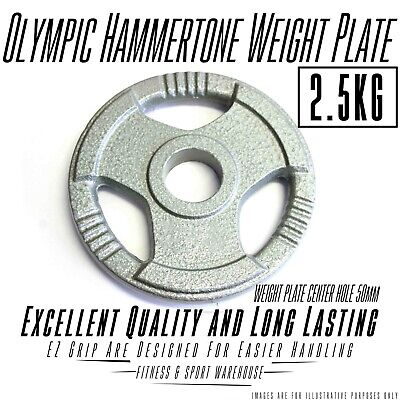 AU34 • Buy 2X2.5KG Olympic Solid Cast Iron Hammertone Weight Plate 50mm Weightlifting