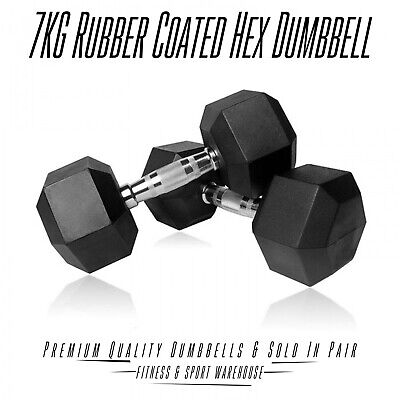 AU69.29 • Buy 2x7KG Hex Dumbbells Rubber Coated Dumbell Fitness Gym Hand Weights Strength