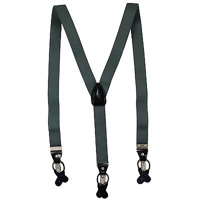 $17.95 • Buy New In Box Men's Suspender Charcoal Gray Braces Elastic Clips Buttons
