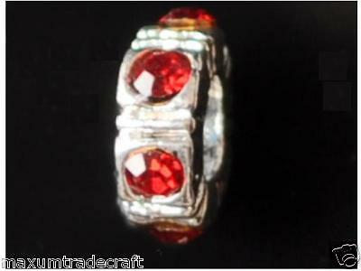 5pcs Red Rhinestone Ring Spacer Beads Fit European Snake Chain • 2.99£