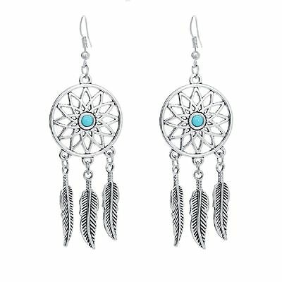 £2.75 • Buy Vintage Dream Catcher Antique Silver Sunflower And Leaf Chandelier Earrings