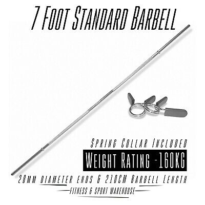 AU76.99 • Buy Standard Barbell 7ft Bar Solid Smooth Spring Collar Strength Gym Weightlifting