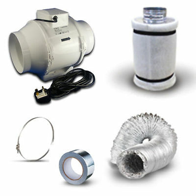£49.99 • Buy 4  In Line Fan, Carbon Filter & Duct Kit - Hydroponic Grow Room Tent Ventilation