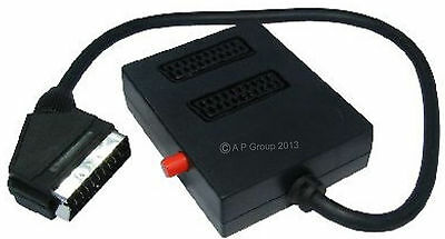 2 Way Switched Scart Lead Cable Box Wire Splitter Adaptor Two Into One Black New • 5.71£