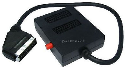 2 Way Switched Scart Lead Cable Box Wire Splitter Adaptor Two Into One Black New • 6.85£