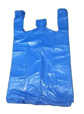 Strong Blue Carrier Bags Vest XXL Large Jumbo 18mu 12x18x23  Select Size & Qty • 5.50£
