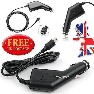 In Car Charger Cable 5pin SAT NAV GPS TOMTOM START 2 UK ROI/ROUTE 66/V1/V2/V3/V4 • 2.99£
