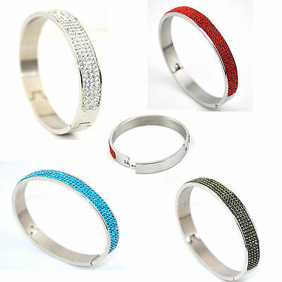 Stainless Steel With Crystal Bangle With Buckle Fasten • 6.99£
