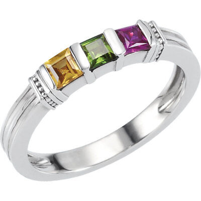 $90 • Buy Mother's Stackable Ring 1-3 Princess-Cut Birthstones Sterling Silver Family Ring