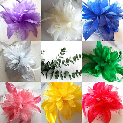 Hair Flower Fascinator Feather Races Ascot Wedding Clip Comb All Colours New 12 • 2.95£