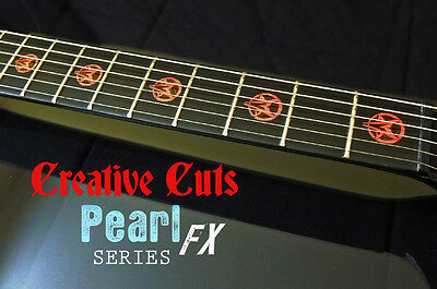 Goat Pentagram RED PEARL Fret Markers Inlay Set Sticker Decal For BASS & GUITAR • 14.78£