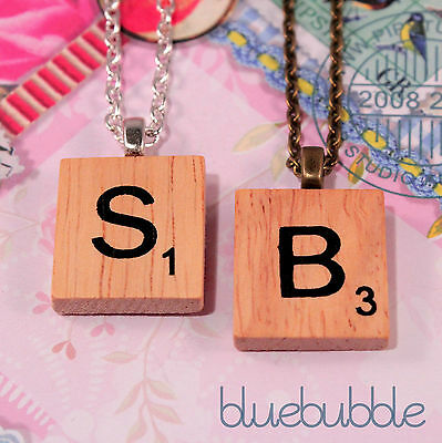 £1.99 • Buy Vintage Wooden Scrabble Style Necklace Cute Kitsch Initial Letter Tile Charm Emo