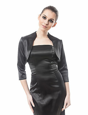 Women Cocktail Evening Party Satin Jacket With Three Quarter Sleeves Emanuella2 • 12.50£