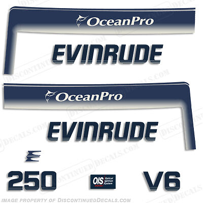 $98.95 • Buy Evinrude 250hp V6 OceanPro Outboard Decal Kit - 1993 1994 1995 1996 1997