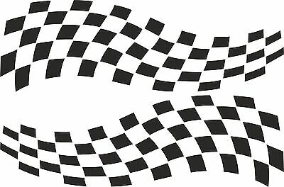 2 X CHEQUERED FLAG VINYL STICKERS 3 SIZES Any Colour Race Car Van Camper Decal • 27.49£