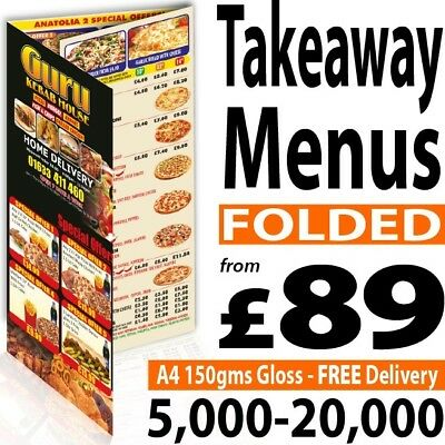 Takeaway FOLDED Colour A5, A4 Or A3 Printed Menus / Leaflets / Flyers 150gms • 148£