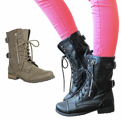 £22.99 • Buy Ladies Womens Military Boots Army Combat Ankle Lace Up Flat Biker Zip Sizes 3-8