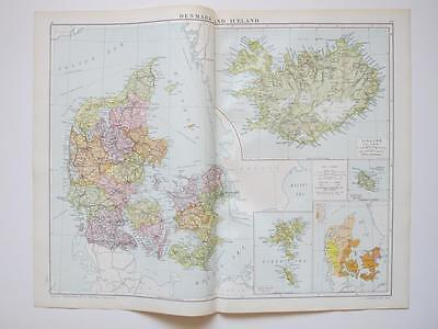 1920 Map Denmark & Iceland Large Colour Map Gross • 10£