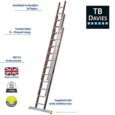 TB Davies Trade Aluminium Extension Ladders - Double & Triple EN131 Sections • 115.15£