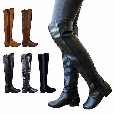 Ladies Womens Wide Leg Calf Stretch Over Knee Thigh High Flat Boots Shoes Size • 29.99£