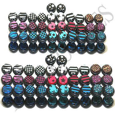 $5.95 • Buy V114 Fake Cheater Illusion Faux Ear Plugs 0G 00G 8mm 10mm White Blue Red Black