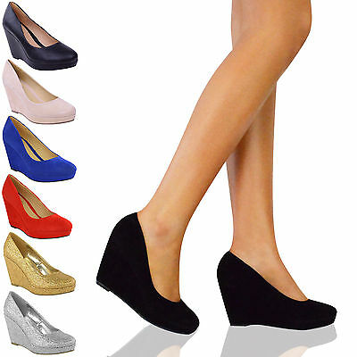 Ladies Womens Low Mid High Heels Platforms Wedges Pumps Work Court Shoes Size • 19.99£