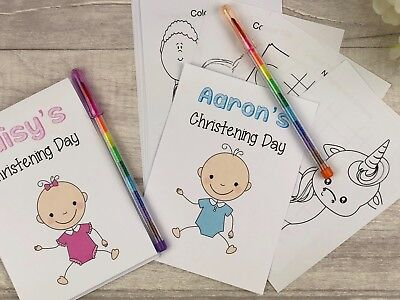 £1.75 • Buy Childrens Personalised A6 Christening Wedding Activity Pack Party Bag Favour