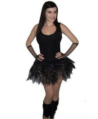 AU12.60 • Buy Black Diamante Tutu Sparkle 80's Fancy Dress Hen Party Legwarmers Gloves 8 - 16
