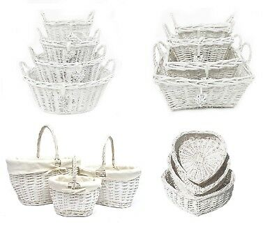 Oval Rectangle White French Shabby Chic Wicker Kitchen Craft Home Storage Basket • 9.99£