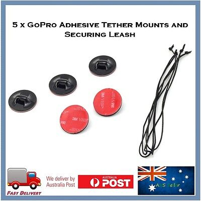 AU10.95 • Buy 5 X GoPro Hero 8 / 7 / 6 / 5 4 Session Adhesive TETHER Mounts & Leashes Go Pro