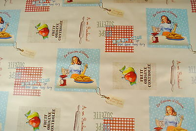 Wipe Clean Tablecloth  Oilcloth  Vinyl Cream Retro French Kitchen  Very Chic! • 12.58£