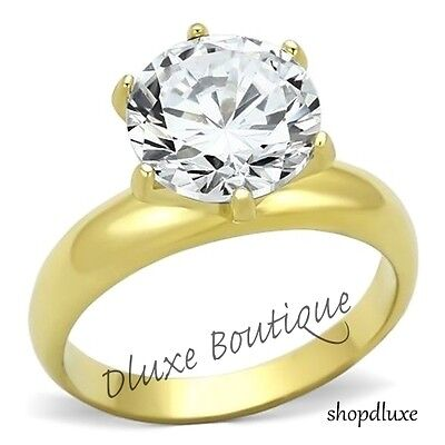 $13.99 • Buy 3.90 Ct Round Cut 14k Gold Plated CZ Solitaire Engagement Ring Women's Size 5-10