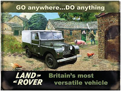 Land Rover Mark 1, Farm, Classic Off Road 4x4 Car, Small Metal Tin Sign, Picture • 5.18£