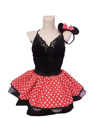 Kids Minnie Mouse Tutu Skirt Headband 80s Fancy Dress Red White Polka Dot Dance • 8.99£