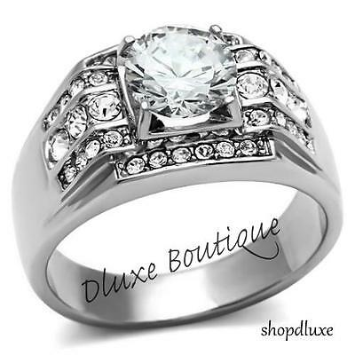 $12.91 • Buy Men's 3.35 Ct Round Cut Simulated Diamond Silver Stainless Steel Ring Size 8-14
