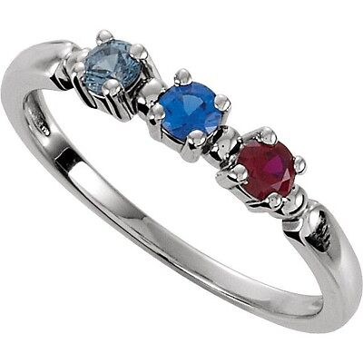 $55 • Buy 1-3 Round Birthstones Mothers Silver Ring, Mom's Family Jewelry Gift