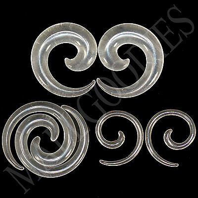$5.95 • Buy V129 Clear Spiral Swril Stretchers Tapers Expanders 4 2 0 00G Gauges 1/2  Plugs