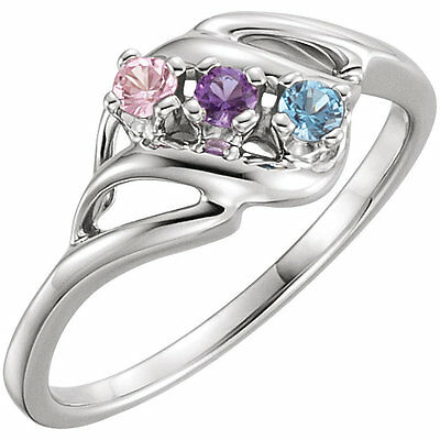 $65 • Buy Sterling Silver Mother's Ring 1 To 5 Round Birthstones Mom's Family Jewelry Gift