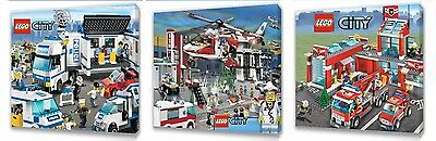 £9.99 • Buy Lego City Kids Canvas Wall Art Plaque Pictures Set Of Three Pack 1
