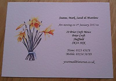 New Home Address Moving House Cards Personalised Pack Of 5 With Envs Daffodils • 2.57£