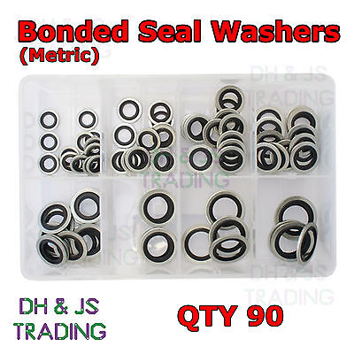 £19.99 • Buy Assorted Box Of Bonded Seals Metric Dowty Washers (10mm - 24mm) Qty 90