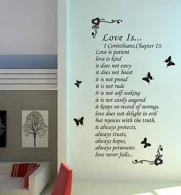 £14.99 • Buy Hand Carving Love Is Patient Love Is Kind Wall Art Wall Sticker UK 237