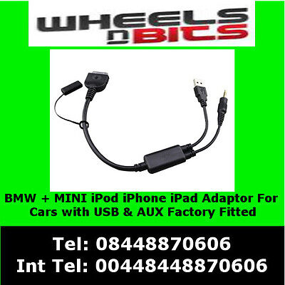 USB Y Cable To AUX Adaptor For BMW & BMW MINI Cooper IPod IPhone IPad Interface • 9.99£