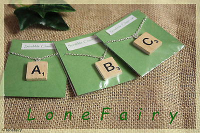 £3.15 • Buy Handcrafted Wooden Scrabble Tile Necklace In Packet * Choose Your Letter * 18
