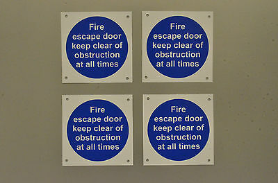 Fire Escape Door Keep Clear Of Obstruction.. 4 X Plastic Signs Stickers 100x100  • 2.76£