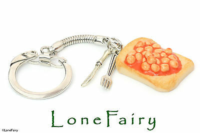 Polymer Clay Beans On Toast Cutlery Food Keyring Key Chain Retro Jewellery • 4.50£
