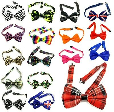 £3.49 • Buy Satin Bow Clip On Tie Wedding Mens Great For Fancy Dress Unisex Funky 29 Designs