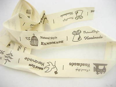 1m 7pics A24 Sew-on Woven Fabric Labels Woven 'Handmade' Garment Toy Bag Labels  • 1.99£